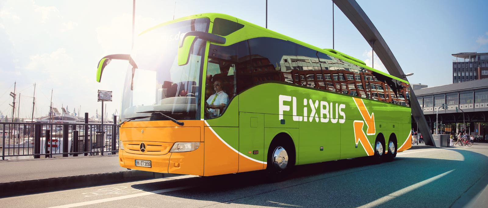 FlixBus on the street.